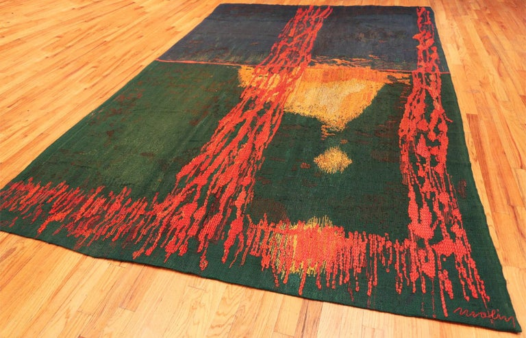 "20th Century ""Night Mirror"" by Brita Molin Vintage Scandinavian Carpet. Size: 9' x 13' 7"
