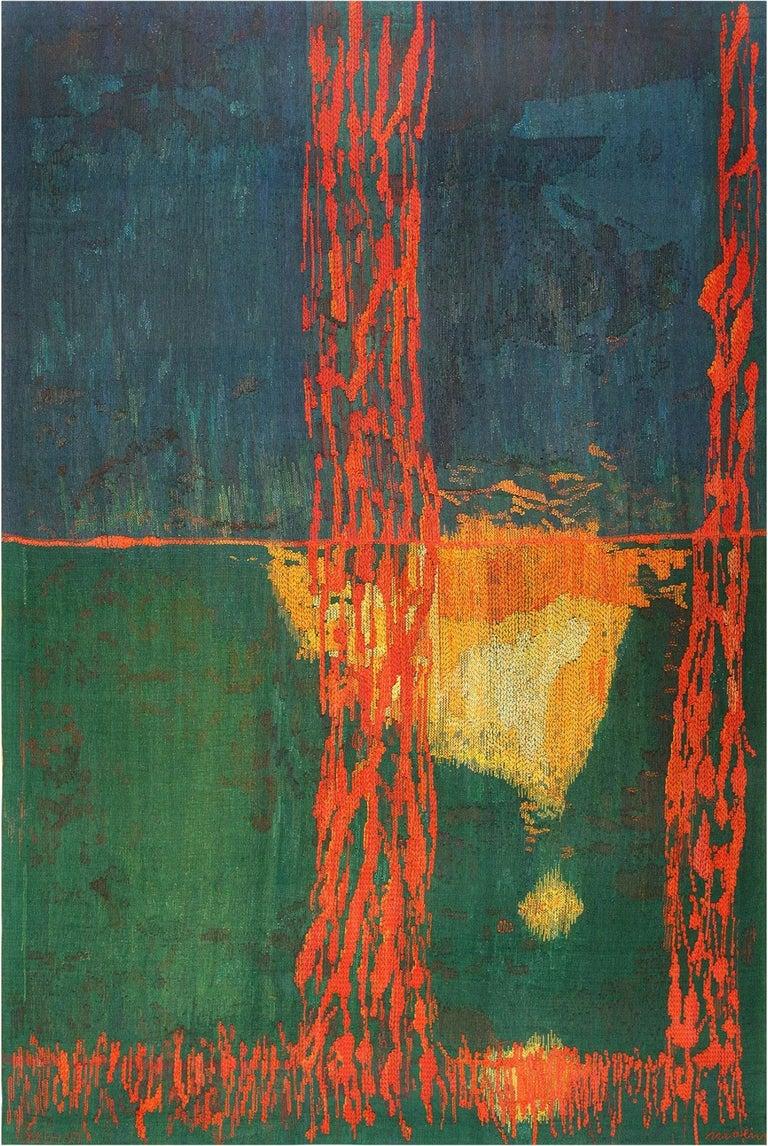 "Wool ""Night Mirror"" by Brita Molin Vintage Scandinavian Carpet. Size: 9' x 13' 7"