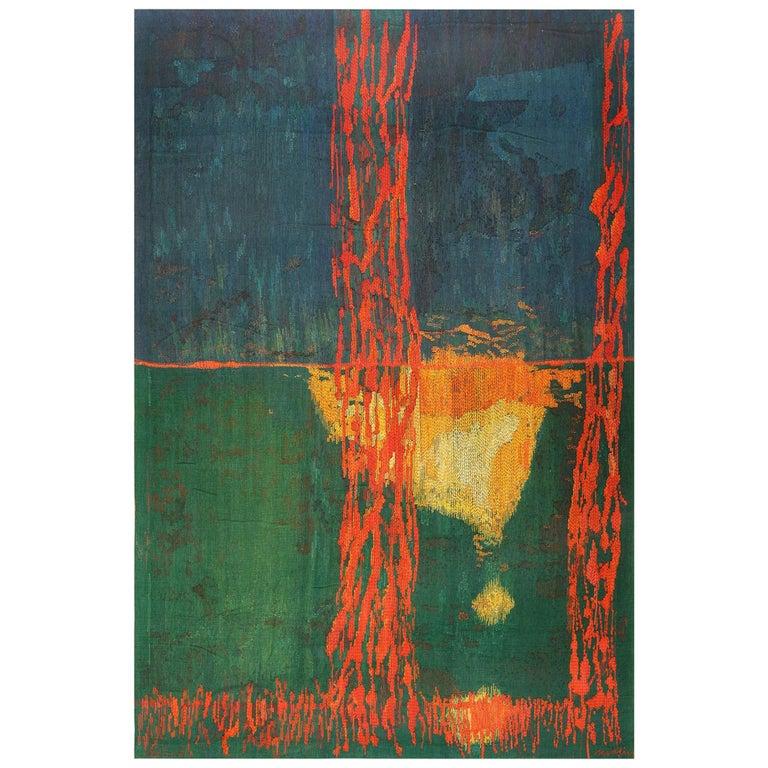 """Night Mirror"" by Brita Molin Vintage Scandinavian Carpet. Size: 9' x 13' 7""  For Sale"