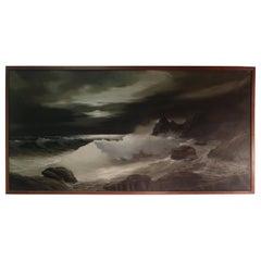 Night Ocean Scene with Waves Crashing by Artist Bruno Di Giulio