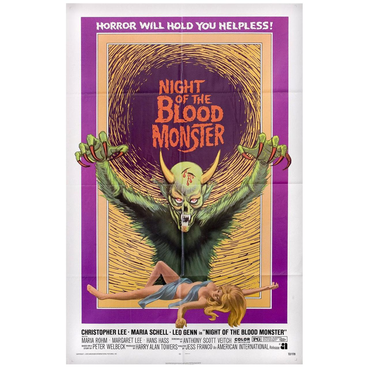 Night of the Blood Monster 1972 U.S. One Sheet Film Poster