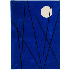 Hand Tufted Blue Wool Rug w/ White Moon Shape & Black Lines Design by Carpets CC
