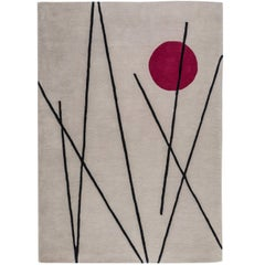 Grey Wool Rug with Red Moon & Lines by Cecilia Setterdahl for Carpets CC