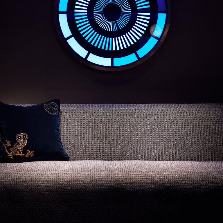 Night Owl, Crystal Embroidered Cushion in Navy Blue Velvet In New Condition For Sale In London, GB