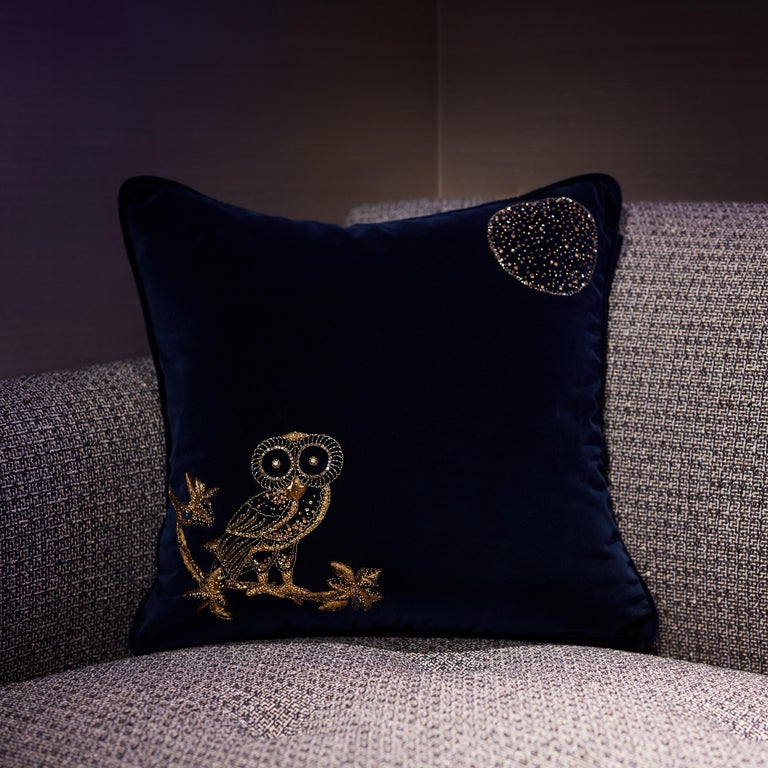 Contemporary Night Owl, Crystal Embroidered Cushion in Navy Blue Velvet For Sale
