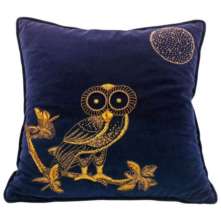 Night Owl, Crystal Embroidered Cushion in Navy Blue Velvet For Sale