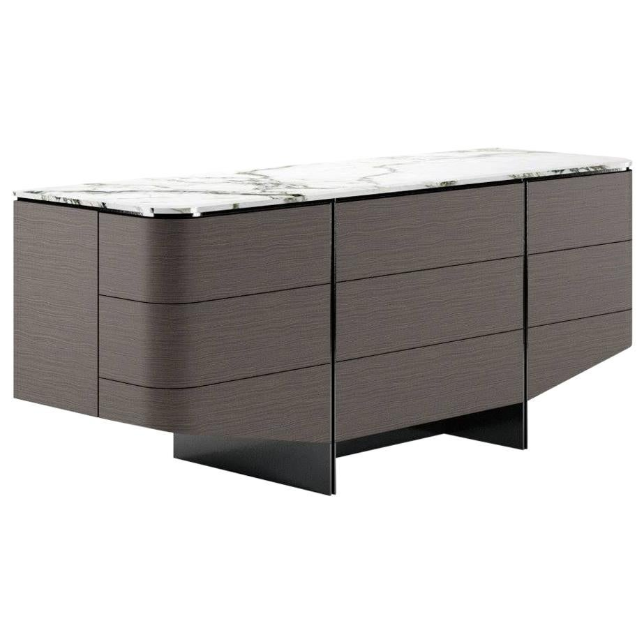 Night Sideboard Contemporary by Fabio Arcaini Marble Oak Lacquered
