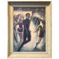 """Night Skaters,"" Vivid Genre Painting of Ice Skating in 1940s Chicago"