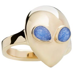 Night Sky Alien Pinky, Limited Edition 9 Karat Yellow Gold Blue Enamel Ring