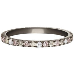 Night Sky, Eternity Ring with Pink, Grey and White Diamonds