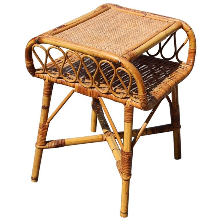 Night Stand Bamboo Mid-Century Italian Design 1950s  For Sale