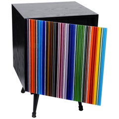 Nightstand Barcodes Multicolored Glass Door
