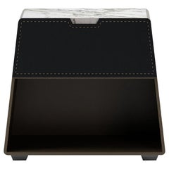 Night Stand Contemporary by Fabio Arcaini Wood Marble Leather