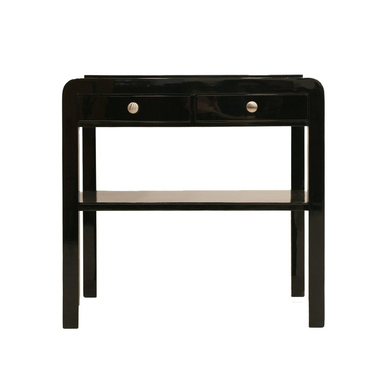 Polish Nightstand in Black Piano Lacquer, Poland, Early 20th Century For Sale