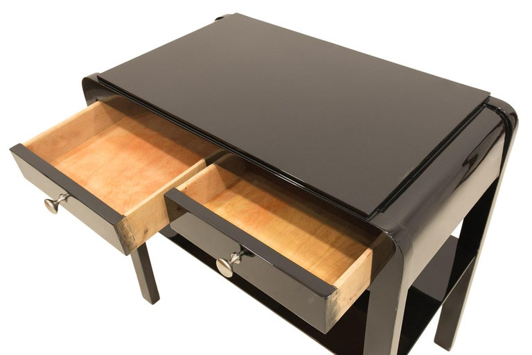 Nightstand in Black Piano Lacquer, Poland, Early 20th Century For Sale 1