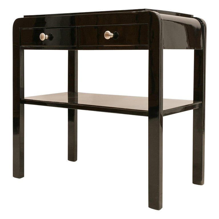 Nightstand in Black Piano Lacquer, Poland, Early 20th Century For Sale