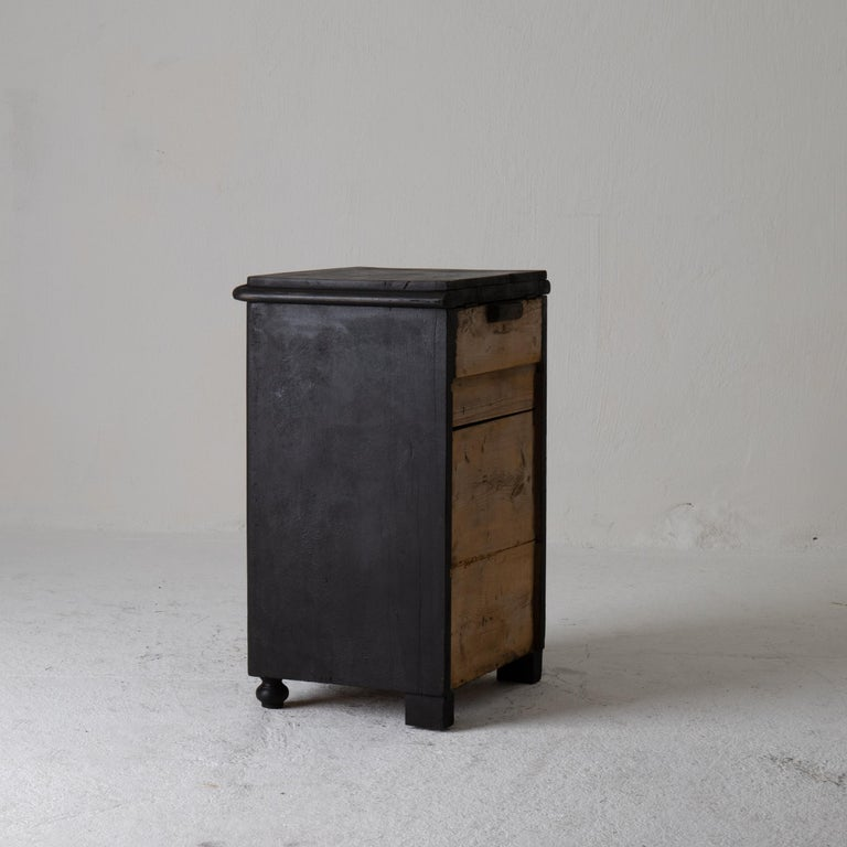 Wood Nightstand Swedish Black 19th Century Sweden For Sale