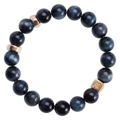 Night Time Dark Blue Tiger's Eye with Gold Accents Bracelet