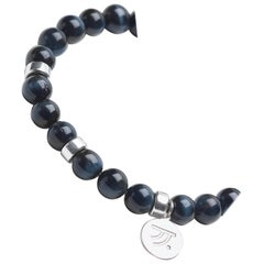Night Time Dark Blue Tiger's Eye with Sterling Silver Bracelet