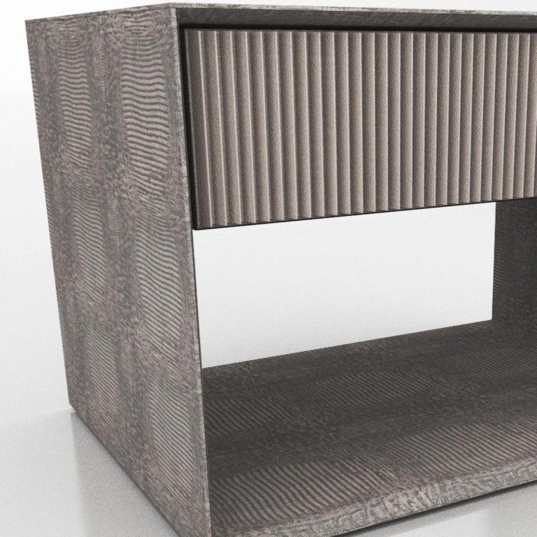 Brazilian Nightstand, Hestia, Leather 8757 For Sale