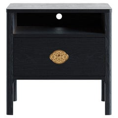 Swiss Nightstand in Black Ebonized Solid European Ash