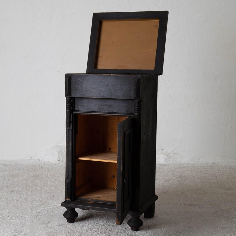 Neoclassical Nightstand Swedish Black, Late 19th Century, Sweden For Sale
