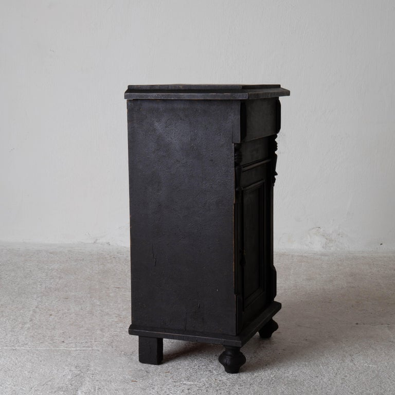 Wood Nightstand Swedish Black, Late 19th Century, Sweden For Sale