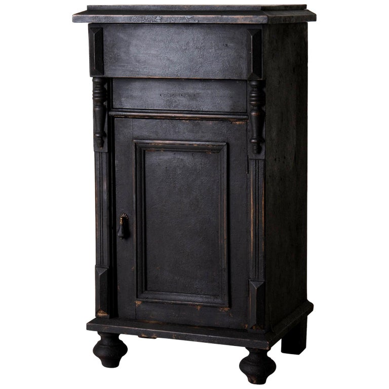Nightstand Swedish Black, Late 19th Century, Sweden For Sale