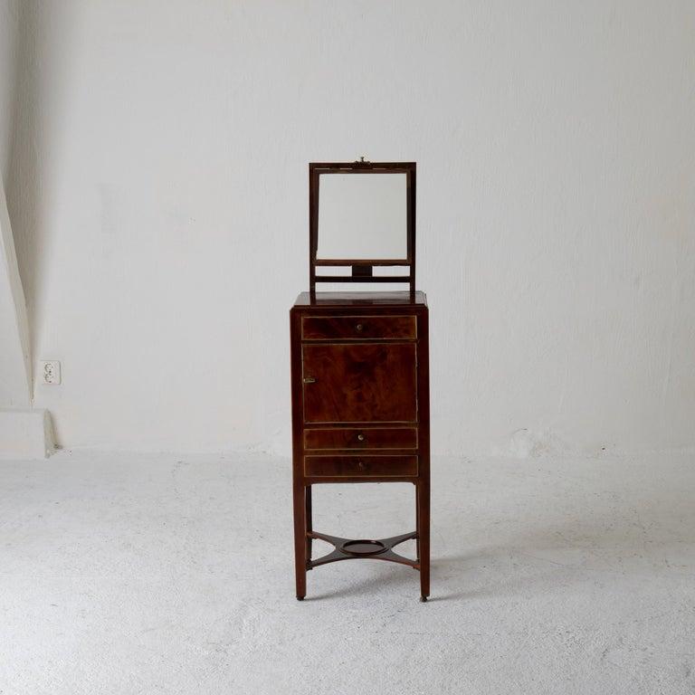 Nightstand Vanity Table Gustavian Swedish Mahogany Brass Lining, Sweden For Sale 4
