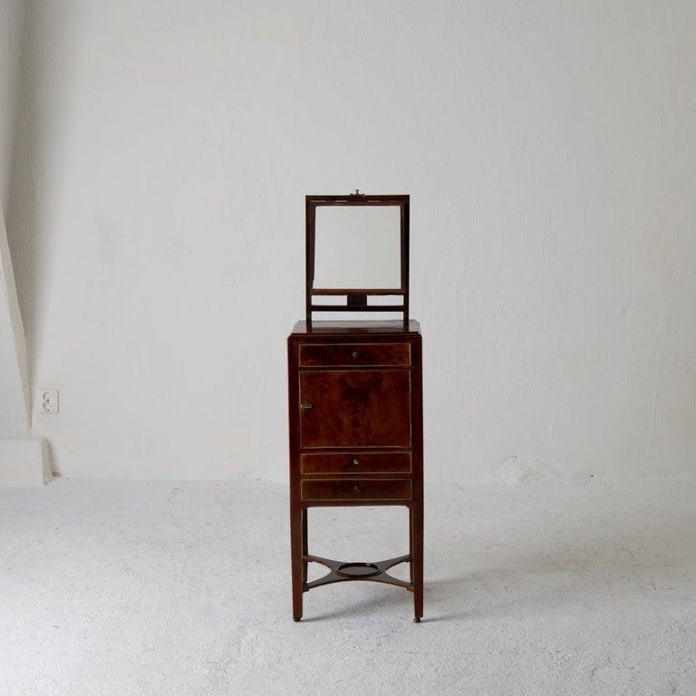 Nightstand Vanity Table Gustavian Swedish Mahogany Brass Lining, Sweden For Sale 5