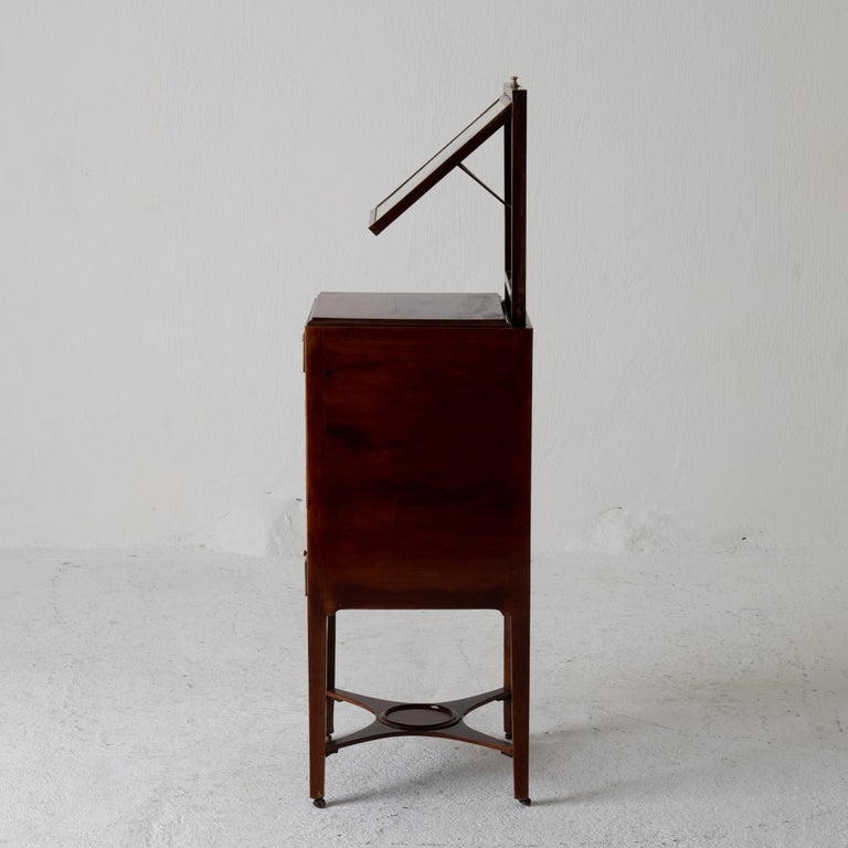 Nightstand Vanity Table Gustavian Swedish Mahogany Brass Lining, Sweden For Sale 6