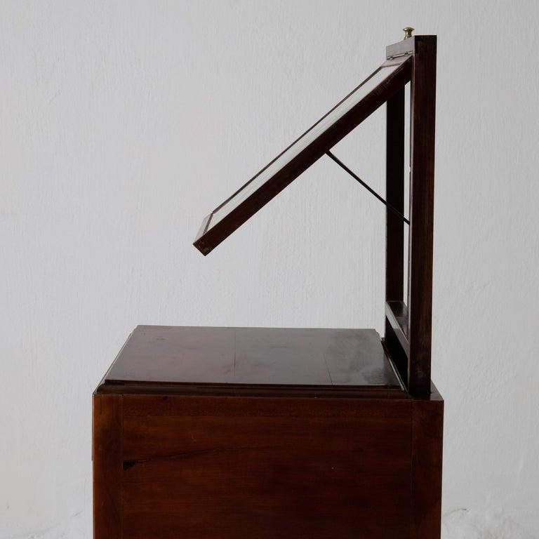 Nightstand Vanity Table Gustavian Swedish Mahogany Brass Lining, Sweden For Sale 7