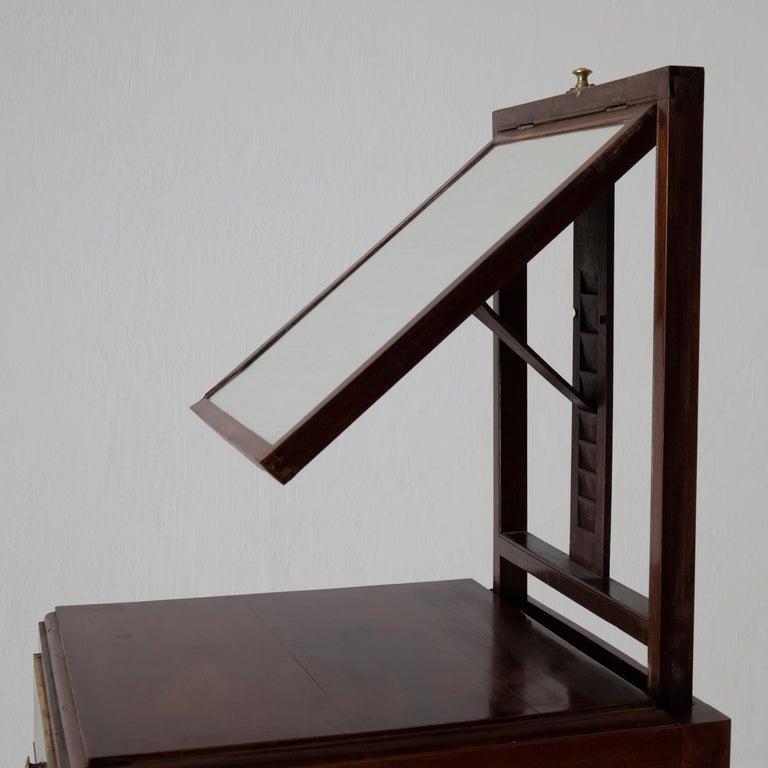 Nightstand Vanity Table Gustavian Swedish Mahogany Brass Lining, Sweden For Sale 8