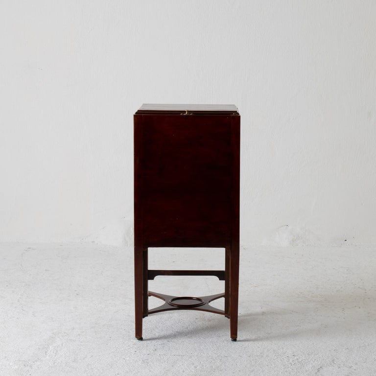 Nightstand Vanity Table Gustavian Swedish Mahogany Brass Lining, Sweden For Sale 9