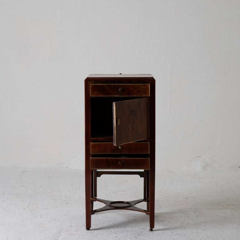 European Nightstand Vanity Table Gustavian Swedish Mahogany Brass Lining, Sweden For Sale
