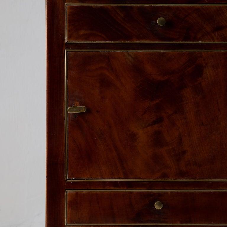 Veneer Nightstand Vanity Table Gustavian Swedish Mahogany Brass Lining, Sweden For Sale