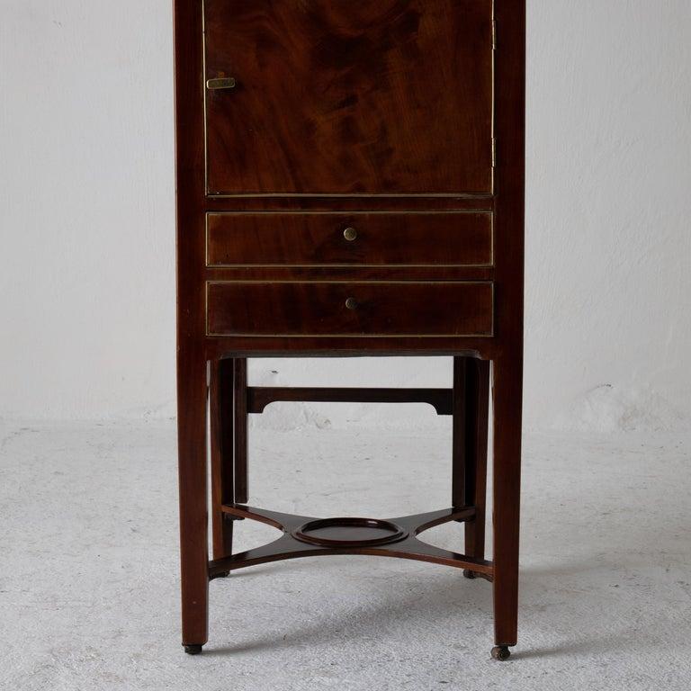 18th Century Nightstand Vanity Table Gustavian Swedish Mahogany Brass Lining, Sweden For Sale