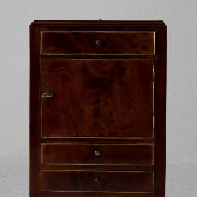 Nightstand Vanity Table Gustavian Swedish Mahogany Brass Lining, Sweden For Sale 1