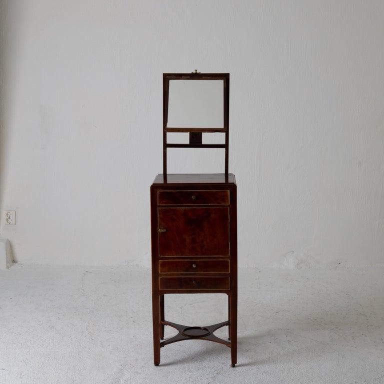 Nightstand Vanity Table Gustavian Swedish Mahogany Brass Lining, Sweden For Sale 2
