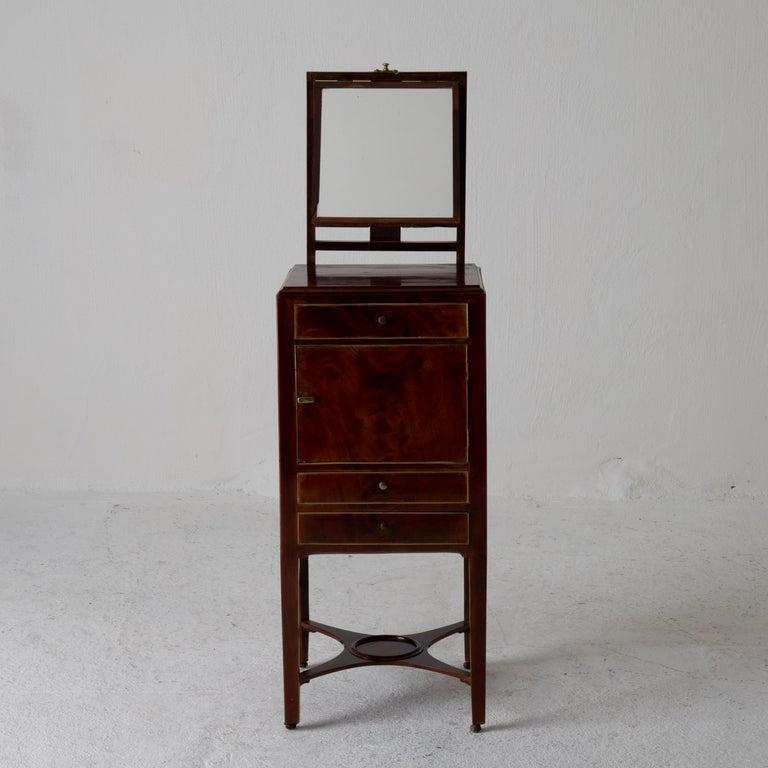 Nightstand Vanity Table Gustavian Swedish Mahogany Brass Lining, Sweden For Sale 3