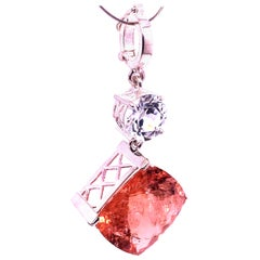Nighttime Sparkle Morganite and White Cambodian Zircon Pendant by Gemjunky