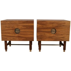 Walnut and Brass Niguel Nightstand by Lawson-Fenning - In Stock