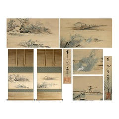 Nihonga Pair Landcape Scene Meiji Period Scroll Japan 19c Artist Sakakibara