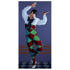 Nijinsky as Harlequin, Life-Size Painting by Lynn Curlee