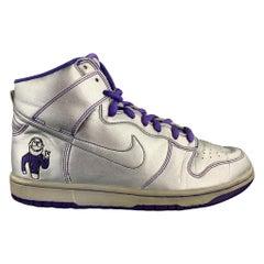 "NIKE SB ""Dinosaur Jr."" Size 8.5 Silver & Purple Metallic Leather Sneakers"