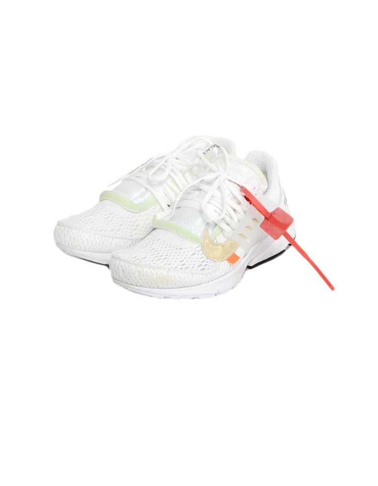 Nike x Off-White Men's NWT White The 10 Air Presto Sneakers sz 8  Made In: China Year of Production: 2018 Color: White Materials: Textile, rubber Closure/Opening: Lace-up closure Overall Condition: New with tags, with small stain to front due to