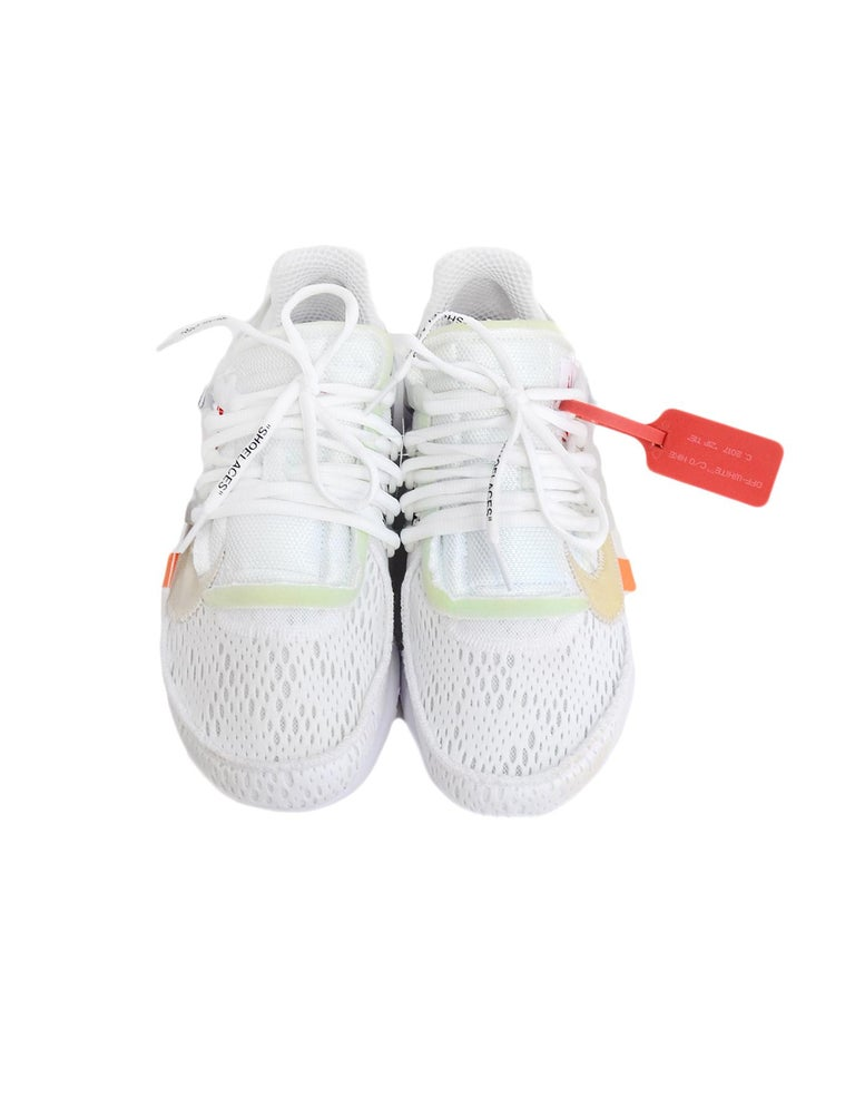 Nike x Off-White Men's NWT White The 10 Air Presto Sneakers sz 8 In New Condition For Sale In New York, NY