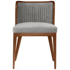 Nikea Chair, Low and Wide Rounded Back with Channel Tufting and a Deep Cushion