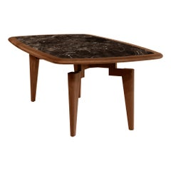 Nikea Table, Geometric Legs with Marble Insert Dining Table
