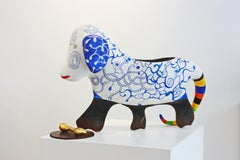 Niki de Saint Phalle The Dog Sculpture and Vase in Painted Resin, Iron, Ceramic